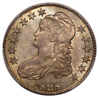 1828 50C SQUARE 2, SMALL 8, LARGE LETTERS CAPPED BUST HALF DOLLAR PCGS MINT STATE 65 O