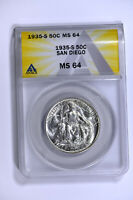 1935-S ANACS MINT STATE 64 CLASSIC COMMEMORATIVE SAN DIEGO HALF DOLLAR-REALLY  LUSTER