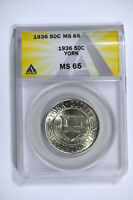 1936 ANACS MINT STATE 65 YORK CLASSIC COMMEMORATIVE HALF DOLLAR - REALLY  LUSTER