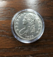 1833 SILVER CAPPED BUST  HALF DOLLAR IN STUNNING BU CONDITION. SUPER