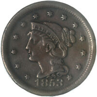1853 BRAIDED HAIR LARGE CENT  FINE VF SEE PICS G207