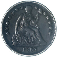 1857 SEATED LIBERTY HALF DIME 90 SILVER EXTRA FINE EXTRA FINE  DARK SEE PICS G222