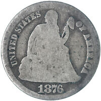 1876 CC SEATED LIBERTY DIME 90 SILVER ABOUT GOOD SEE PICS G152