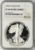 1994-P $1 PROOF AMERICAN SILVER EAGLE NGC PF69UCAM