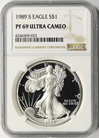 1989-S $1 PROOF AMERICAN SILVER EAGLE NGC PF69UCAM