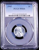 1943 P LINCOLN WARTIME STEEL CENT PCGS MINT STATE 64 BRIGHT WITH SUPER LUSTER PQ GE175