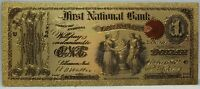1875 ORIGINAL LEBANON $1 NATIONAL CURRENCY NOVELTY 24K GOLD PLATED NOTE 6