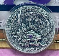 AZTEC DRAGON SERIES   2020 2 OZ $2 UHR ANTIQUE SILVER COIN W
