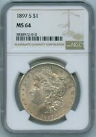 1897 S NGC MINT STATE 64 MORGAN SILVER DOLLAR US MINT  KEY DATE 1897-S NGC MINT STATE 64