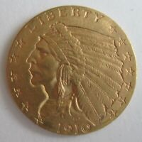 1910 QUARTER EAGLE INDIAN HEAD $2.50 GOLD COIN