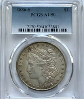 1886 S MORGAN DOLLAR AU 50 PCGS CERTIFIED SILVER BETTER DATE HARD TO FIND