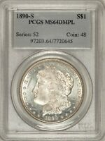 1890-S MORGAN DOLLAR PCGS MINT STATE 64DMPL TOUGH DEEP MIRROR PROOFLIKE BTI5