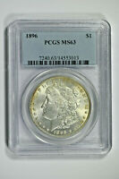 1896 PCGS MINT STATE 63 MORGAN SILVER DOLLAR - PRICE GUIDE $80