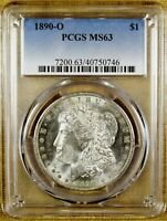 1890-O PCGS MINT STATE 63 MORGAN DOLLAR - BETTER DATE - 99 WHITE 46