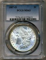 1887-O MORGAN PCGS MINT STATE 63 MOSTLY WHITE LUSTER SILVER DOLLAR COIN NEW ORLEANS MINT