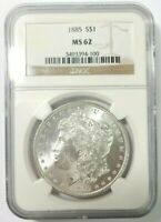 1885 MORGAN SILVER DOLLAR NGC MINT STATE 62