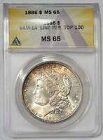 1886  $1 MORGAN SILVER DOLLAR  ANACS MINT STATE 65 VAM 1A  TOP 100 050757