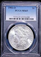 1901-O MORGAN SILVER DOLLAR PCGS MINT STATE 65 BLAST WHITE GREAT FROSTY LUSTER, PQ GE448