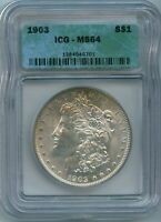 1903 P ICG MINT STATE 64 MORGAN SILVER DOLLAR US MINT BETTER DATE 1903-P MINT STATE 64 PQ COIN