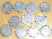 JOB LOT OF BRITISH SILVER THREE PENCE PIECES   11 COINS   19