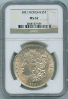 1921 P NGC MINT STATE 62 MORGAN SILVER DOLLAR $1 US MINT 1921-P VAM 52 MINT STATE 62 PQ COIN