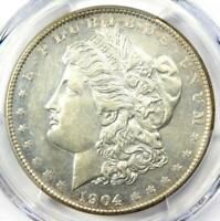 1904-S MORGAN SILVER DOLLAR $1 COIN - CERTIFIED PCGS AU DETAILS - NEAR MS / UNC