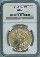 1921 P NGC MINT STATE 64 MORGAN SILVER DOLLAR $1 US MINT 1921-P VAM 3FN MINT STATE 64 PQ COIN