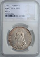 GREAT BRITAIN 4 SHILLINGS  2 FLORINS  1887 NGC MS62