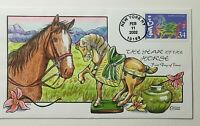 2002 FDC FRED COLLINS HAND PAINTED YEAR OF THE HORSE SC 3559
