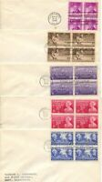 1940'S FDC ALL BLOCKS OF 4 NO CACHETS