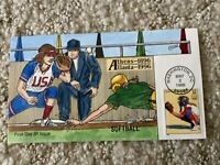 1996 SUMMER OLYMPICS SOFTBALL STAMP FDC HANDPAINTED COLLINS