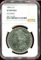 1894 S MORGAN SILVER DOLLAR $1 KEY DATE NGC EXTRA FINE  DETAILS CLEANED