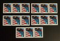 US 3967 PLATE STRIP OF 3 MNH. LOT OF 5 STRIPS IN TOTAL. FREE