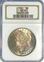 1882 MORGAN DOLLAR MINT STATE 65 NGC CERTIFIED LUSTROUS SILVER BEAUTIFUL GOLD BLUE TONE