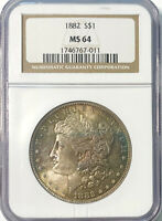 1882 MORGAN DOLLAR MINT STATE 64 NGC CERTIFIED LUSTROUS SILVER ANTIQUE GOLD TONING