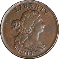 1803 HALF CENT CHOICE EXTRA FINE  C-4 R.3 SUPERB EYE APPEAL STRONG STRIKE