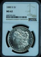 1880-S MORGAN SILVER DOLLAR MINT STATE 62 NGC CERTIFIED DMPL OBVERSE FLASHY