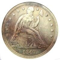 1847 SEATED LIBERTY SILVER DOLLAR $1 COIN - CERTIFIED ANACS AU DETAIL -