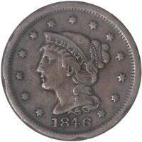 1846 BRAIDED HAIR LARGE CENT SMALL DATE FINE FN DAMAGED RIM SEE PICS H350