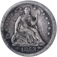 1853 SEATED LIBERTY HALF DIME 90 SILVER  GOOD VG SLIGHT BEND SEE PICS H358