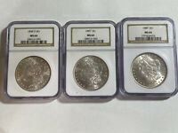 LOT OF 3 MINT STATE 64 MORGAN SILVER DOLLARS NGC  WHITE COINS 1885 1889 1898-O