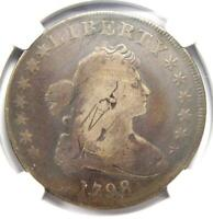 1798 DRAPED BUST SILVER DOLLAR $1 - CERTIFIED NGC VG DETAILS -  COIN