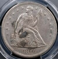 1860 O SEATED LIBERTY DOLLAR PCGS MINT STATE 61 FULLY STRUCK SIL SURFACES WITH SOME