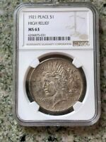1921 PEACE $1 NGC 63 HIGH RELIEF