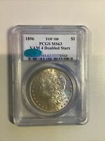 1896 PCGS MINT STATE 63 8564 MORGAN SILVER DOLLAR VAM 4 DOUBLED STARS TOP 100 CAC