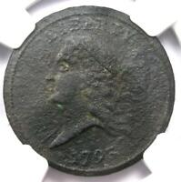 1793 LIBERTY CAP FLOWING HAIR HALF CENT 1/2C - NGC EXTRA FINE  DETAIL EF -  COIN