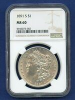 1891 S NGC MINT STATE 60 MORGAN SILVER DOLLAR $1 US MINT BETTER DATE 1891-S MINT STATE 60