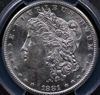 1881 S MORGAN DOLLAR PCGS MINT STATE 63 LUSTROUS WHITE AND WELL STRUCK
