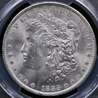 1885 O MORGAN DOLLAR PCGS MINT STATE 63 LUSTROUS FROSTY WHITE AND WELL STRUCK