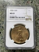1924 $20 SAINT GAUDENS GOLD DOUBLE EAGLE MS 63 NGC COIN